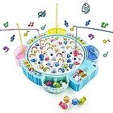 Symiu Juegos de Mesa Niñas Juego de Pesca Música Ajustable Juegos Educativos Regalo para Niños 3 4 5 6 Años con 45 Peces de Juguete