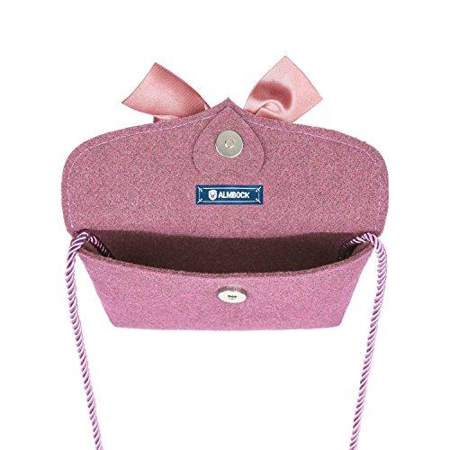 Almbock Trachten-Tasche Lilly in rosa altrosa pink - Trachtentasche handmade, handgemacht, aus 100% echtem Wollfilz, Tasche mit Schleife - 2