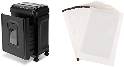 AmazonBasics 8-Sheet High-Security Micro-Cut Shredder with Pullout Basket & Paper Shredder Sharpening & Lubricant Sheets -...