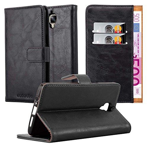 Cadorabo Hülle für OnePlus 3 / 3T - Hülle in Graphit SCHWARZ – Handyhülle im Luxury Design mit Kartenfach und Standfunktion - Case Cover Schutzhülle Etui Tasche Book