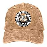 Unisex Tacp Crest Vintage Washed Distressed Cotton Baseball Cap Adjustable Denim Dad Hat