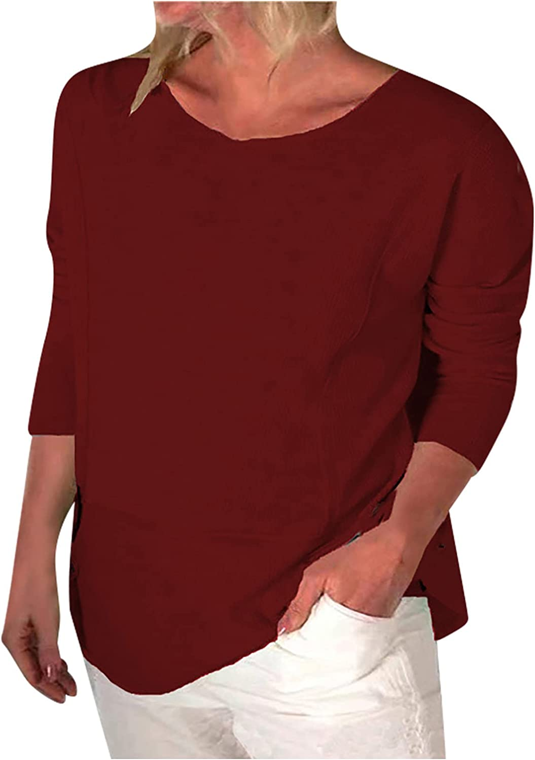 Womens Crewneck Sweatshirts Casual Solid Hedging Blouse Loose Long Sleeve T-Shirts Tops Tunic Tops