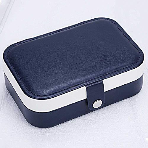 FHNLKFS Frische Und Einfache Mädchen Ohrringe Platte Schmuckschatulle Ohrringe Ring Schmuck Aufbewahrungsbox 16 * 11,5 * 5 cm/Marineblau.