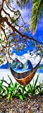 A.Monamour Pegatinas Decorativas de Puerta Autoadhesivo 3D Hamaca Playa De Arena Tropical El Nido Isla De Palawan Filipinas Vinilo para Puertas Mural PVC Pegatinas de Pared Foto Poster 77 x 200 cm