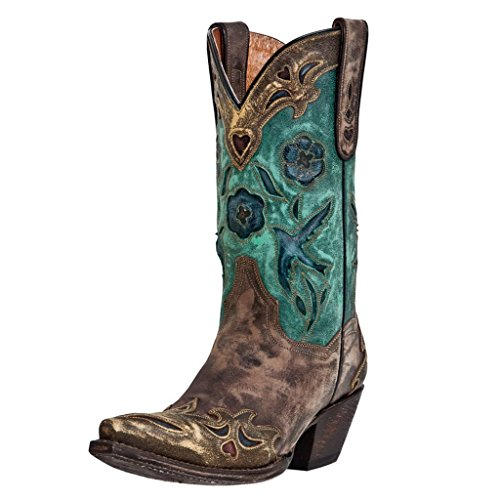Dan Post Women's Blue Bird Sanded Copper/Turquoise Blue Bird Boot 11 B (M)