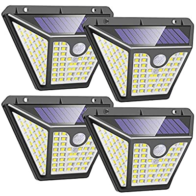 FARRIDE Solar Lights Outdoor102 LED with Lights Reflector,IP65 WaterproofSolar Motion SensorLight, 3 ModesWireless Solar SecurityWall Light for Patio Yard Garage Deck (4 Pack)