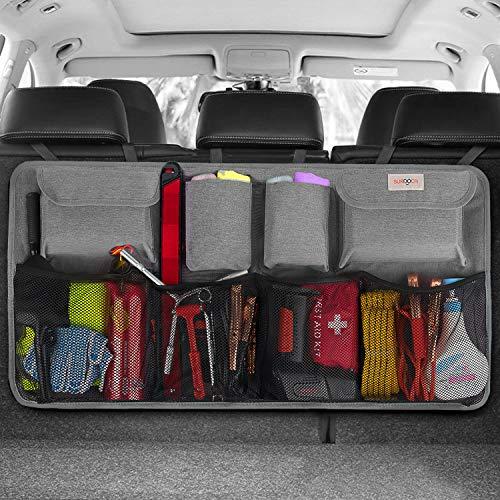 SURDOCA® kofferraum organizer auto - 3rd Gen [doppelte Kapazität] organizer auto, ausgestattet mit [Starkes elastisches Netz & 4 Zauberstabstruktur], autotasche kofferraumtasche, Grau