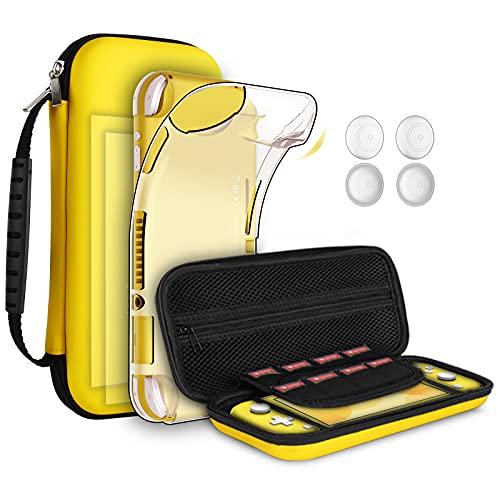 8pcs GeeRic Custodia Compatibile per Switch Lite, 2pcs Vetro Temperato + Cover + 4 Thumb Grips + Borsa Accessori 8 in 1 Kit Compatibile con Switch Lite Giallo