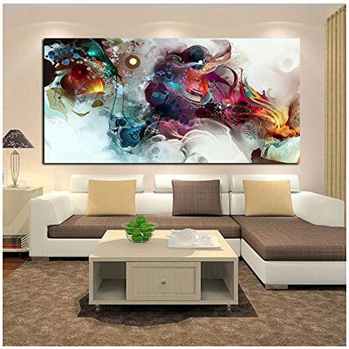 Canvas Op Canvas Aquarel Retro Draak Abstract Schilderij Poster Muur Foto voor Woonkamer Decor Canvas Prints-40x80cm (15.7
