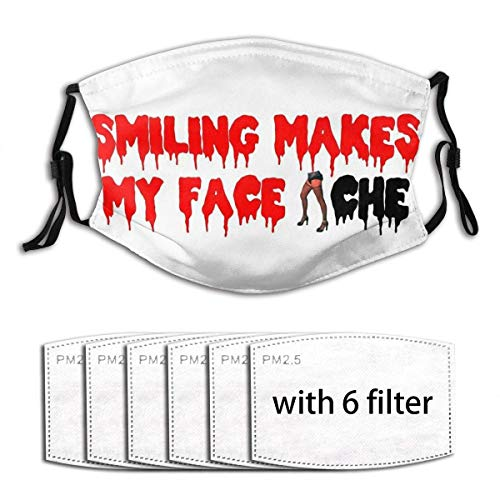 The Rocky Horror Picture Show-Smiling Makes My Face Ache Unisex Windproof and Dustproof Mouth Mask with Adjustable Elastic Strap Face Cover with 6 Filters