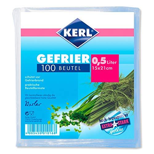 KERL Tiefgefrier-Beutel 0,5 l, 15 x 21 cm, extra stark, 100 Stück