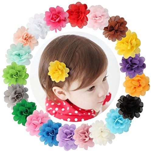 Dooppa Haar-Clips, 20Stück, Chiffon-Blumen, Haarspangen