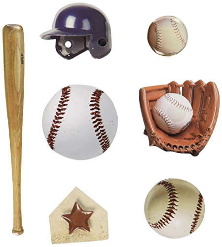 Paper House Productions STEM-0005E 3D Cardstock Stickers, Baseball, 2-Inch  (3-Pack)