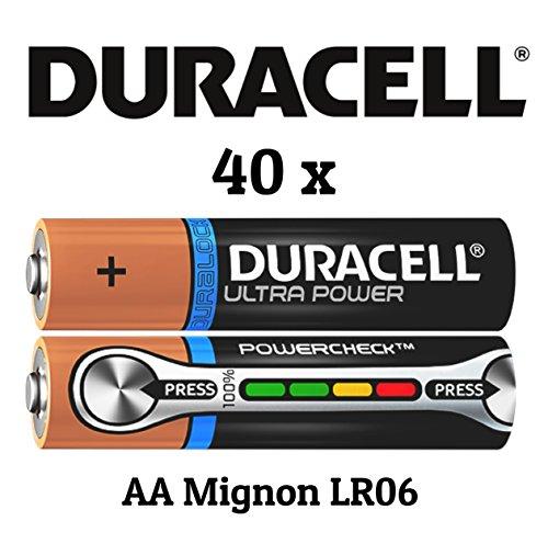 40 x Duracell Ultra Power MX1500 AA/Mignon/LR06 Batterien