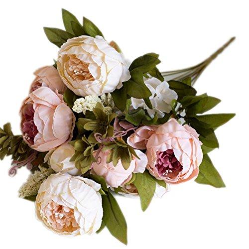 Leisial Ramo de Novia de Flores Artificiales Peonía Seda para para Boda Nupcial Partido Hogar Oficina de la Decoración,Rosa 43 * 7cm