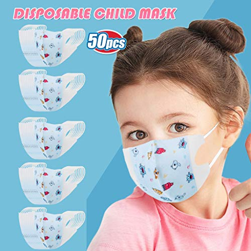 Las Rebajas 50 Unidades de Niños Bebé 0-12 Años Protección Facial con Estampado de Duende Azul Aire Libre (Duende azul*50, 0-3 años)