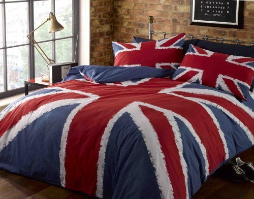 Single Duvet Cover & P/case Bed Set Navy Blue Red Union Jack Printed Bedding Set by Rapport