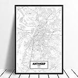 Leinwanddruck,Antwerpen Schwarz Weiß Benutzerdefinierte