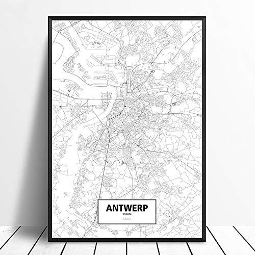 Canvas Decor Schilderijen,Antwerp City Map Print Modern Minimalist Minimalistisch Zwart-Wit Frameloze Muurschildering Eenvoudige Tekst Doek Poster Schilderij Woonkamer Kantoor Woondecoratie, 50 * 70C