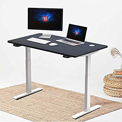 "Hi5 Electric Height Adjustable Standing Desks with Rectangular Tabletop (47.20""x 24"") for Home Office Workstation (White Frame, Black Top)"