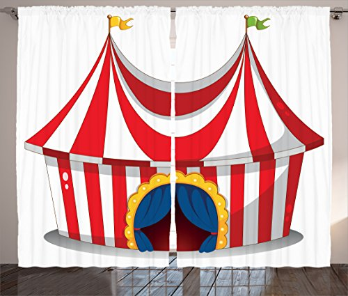 """Ambesonne Circus Curtains, Illustration of Retro Circus with Flag Nostalgic Fun Festival Carnival Venue, Living Room Bedroom Window Drapes 2 Panel Set, 108"""" X 90"""", White Red"""