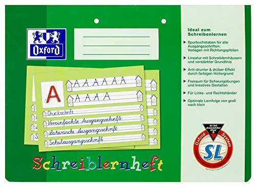 Oxford Schreiblernheft A4 quer, gelocht, Lineatur SL (1. Klasse) grün, 10er Pack