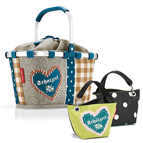 reisenthel Bavaria Serie mit Zugabe Einkaufskorb Tasche Shopper Reisetasche Rucksack Beutel (carrybag xs + schatzerl Green)