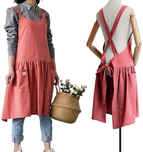 Delantal de cocina estilo coreano, 100% algodón y lino, con diseño de abeja, para uso doméstico, mujer, de moda, para adultos, ropa de trabajo, toronja Rojo