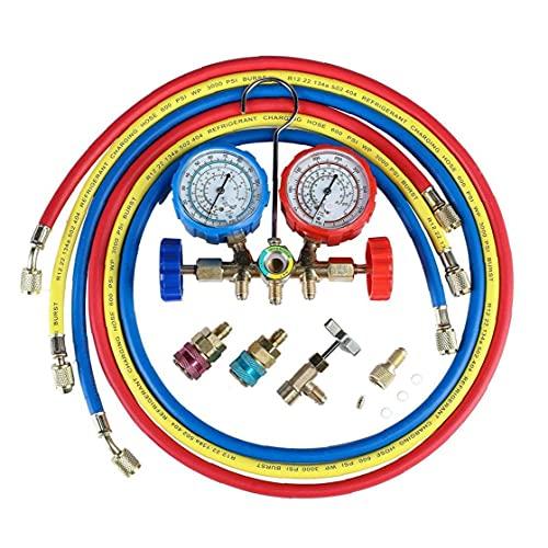 Aria condizionata refrigerante Indicatore diagnostico AC diagnostica manometro Set Collettore di diagnostica Fluoro Collettore Tabella Gauge Tester, idraulici Strumenti