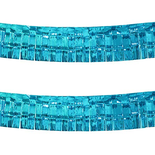 10 Feet by 15 Inch Turquoise Foil Fringe Garland - Pack of 2 | Shiny Metallic Tinsel Banner | Ideal for Parade Floats, Bridal Shower, Bachelorette, Wedding, Birthday, Christmas | Wall Hanging Drapes