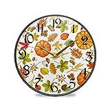 ART VVIES Reloj de Pared Redondo de 9,5 Pulgadas Sin tictac Silencioso Funciona con Pilas Oficina Cocina Dormitorio Decoraciones para el hogar-Otoño Calabaza Hojas de Setas Dibujos Animados