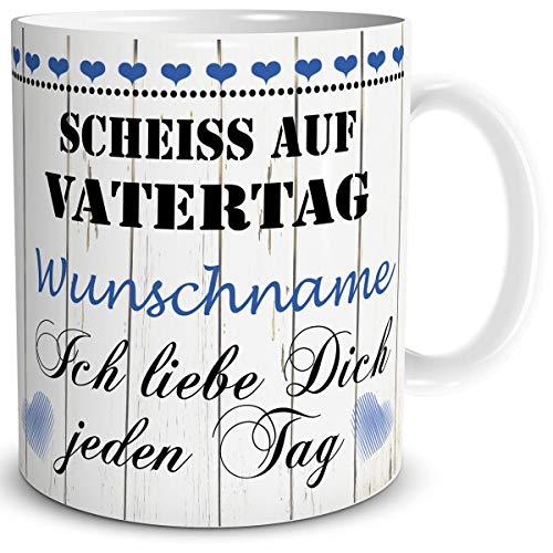 TRIOSK Tasse Papa Spruch mit Namen personalisiert Scheiß auf Vatertag Ich Liebe Dich Geschenk für besten Vater Geburtstag Vatertagsgeschenk