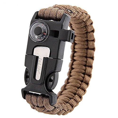 Inlife multifunzione 5 in 1 di sopravvivenza Outdoor Termometro a maglia braccialetto di sopravvivenza fischietto Flint//Fire Starter raschietto, Khaki
