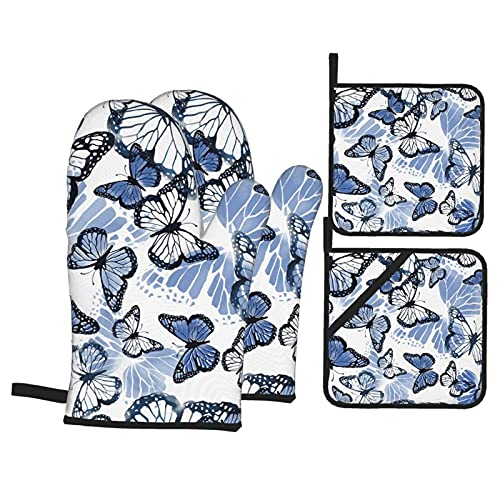 Feartdiy Oven Mitts and Pot Holders Sets of 4,Beautiful Watercolor Blue Butterfly Heat Resistant Kitchen Cooking Oven Gloves and Potholders for BBQ Baking Grillin