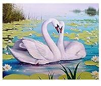 5DDiyウォータースワンラブスクエアモザイクラインストーン画像家の装飾ダイヤモンド絵画30x40cm