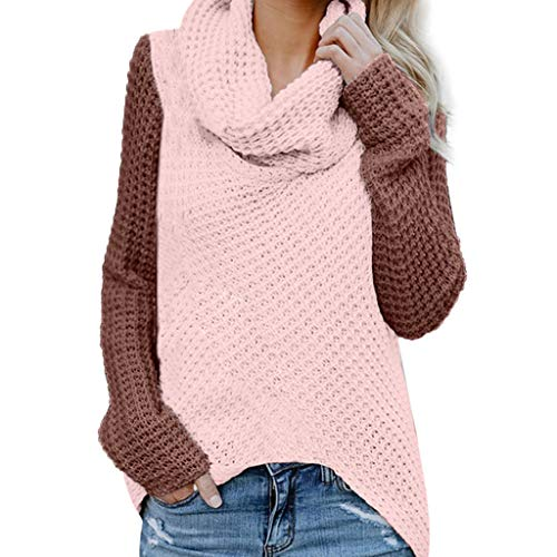 TWGONE Turtleneck Sweater Women Plus Size Knitted Casual Patchwork Long Sleeve Pullover Sweatshit(Small,Pink)
