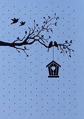 """Nellie's Vintasia Prägeschablone EmbossingFolder EFE020, """"New Home"""", rechteckig mit Punkten, Ast mit Vögel und Vogelhäuschen, Schablonengröße ca. 10,5 cm x 15,0 cm"""