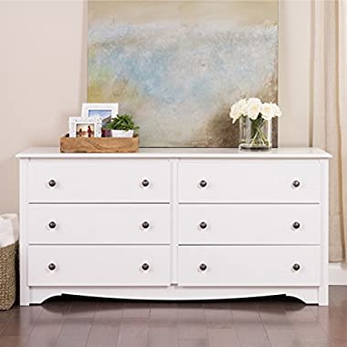 Modern Wood 6 Drawer Dresser with Metal Glides - Includes Modhaus Living Pen (White)