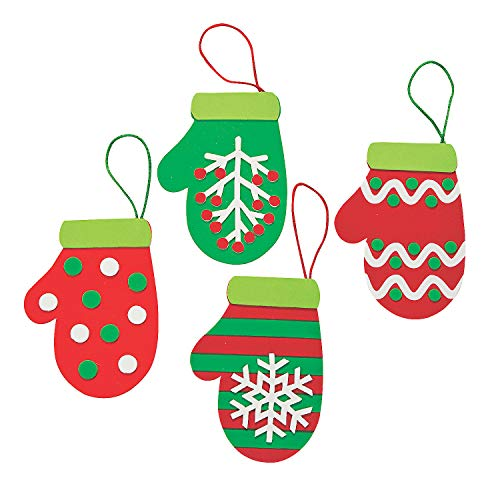 Christmas Mitten Foam Ornament Craft Kit - Makes 12 - Holiday Crafts for Kids