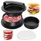 HAIANWONG Stuffed Burger Press 3 in 1, Make The Perfect Burger with 100 Free Patty Wax Papers, Stuffed Burger or Silders, Hamberger Press Patty Maker