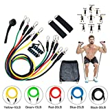 Resistance Bands Set Exercise Bands with 5 Fitness Tubes-2 Foam Handles-Ankle Straps-Door Anchor for Resistance Training, Home Workouts Strength Training & Fitness Workouts Yoga, Pilates, Stretching