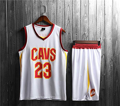 Camisetas De Baloncesto para Hombres, Cleveland Cavaliers # 23 Lebron James - Child Adult Set Sport Ropa Sin Mangas Camiseta Chaleco, Comfort Tapas Tops Uniformes,Blanco,S(Child) 115~125CM
