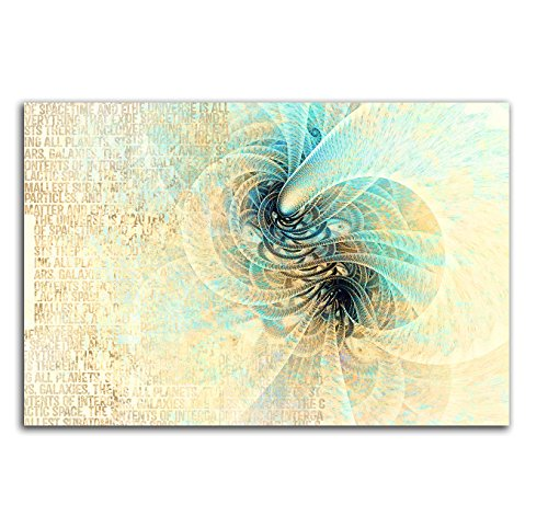 Kunstdruck beige türkis creme Abstrakt417_100x70cm LeinLeinwandbild - Leise Fantasie fertig auf Keilrahmen großes Leinwandbild