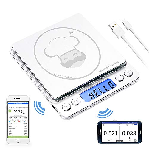 reflex 3000g / 0.1g Digital Pocket Wireless Smart Food Kitchen Scale Grams and Ounces USB Rechargeable, Portable, Accurate, Metal Stainless Steel Surface, Nutritional Keto Calculator, Baking, Counter