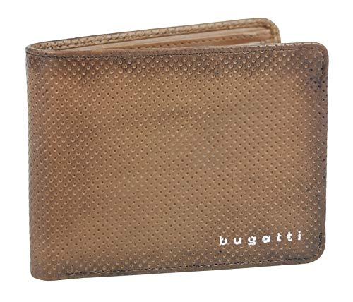 Bugatti Perfo Scheintasche mit Klappe Klein - Geldbeutel aus echtem Leder – kleine Geldbörse mit Klappe – Echtlederbörse in Croco Optik, Braun