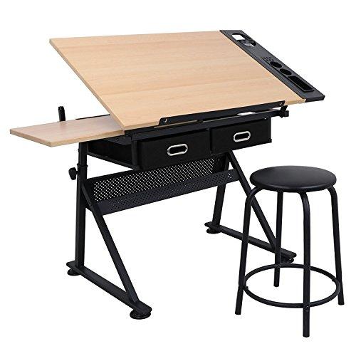 display4top Zeichentisch Schreibtisch Architektentisch Arbeitstisch Tisch Bürotisch mit Schubladen + Hocker höhenverstellbar neigbar