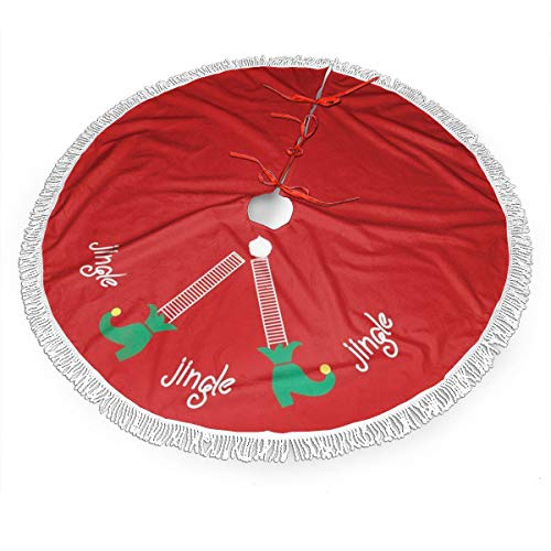 MSGUIDE Elf Legs Red Christmas Tree Skirt with Tassel, Xmas Tree Mat Base Cover Christmas Ornament for Festive Holiday Party Decoration(48inch)