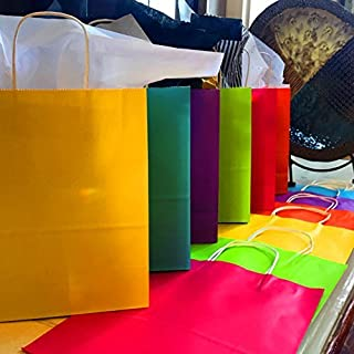 """Adorox 12 Assorted (14.5"""" H x 11.5"""" L x 5.5"""" W) Rainbow Matte Color Paper Gift Bags with String Handles Birthday Wedding All Occasion"""