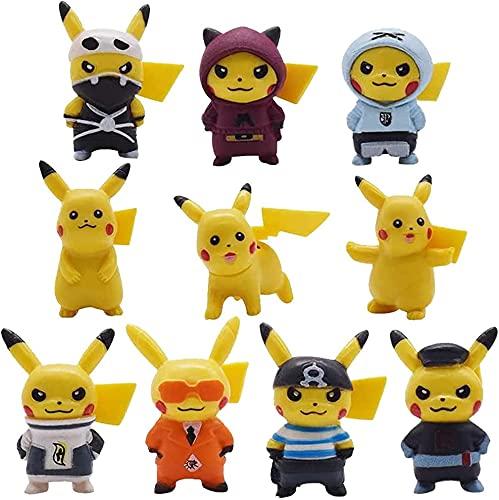 Pikachu Cake Topper, 10 Piezas Pikachu Figuras Decorativas para Tartas Fecoración Para Tarta Decoración Tartas para Niños, Cumpleaños, Bebés, Niñas