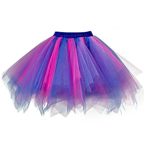 Ellames Women's Vintage 1950s Tutu Petticoat Ballet Bubble Dance Skirt Blue-Fuchsia L/XL